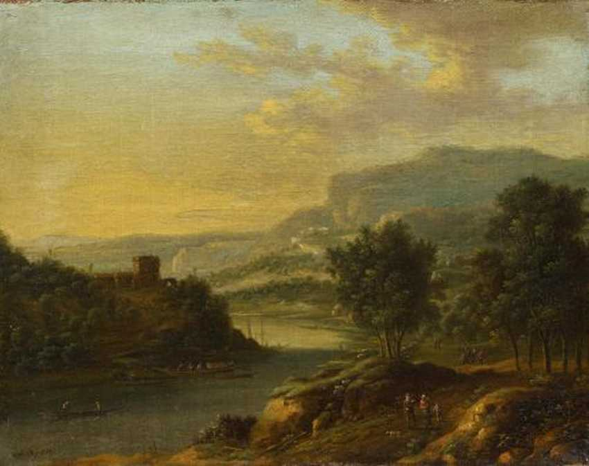 Two paintings: Mountainous river landscape with people. And sunrise in landscape - photo 1