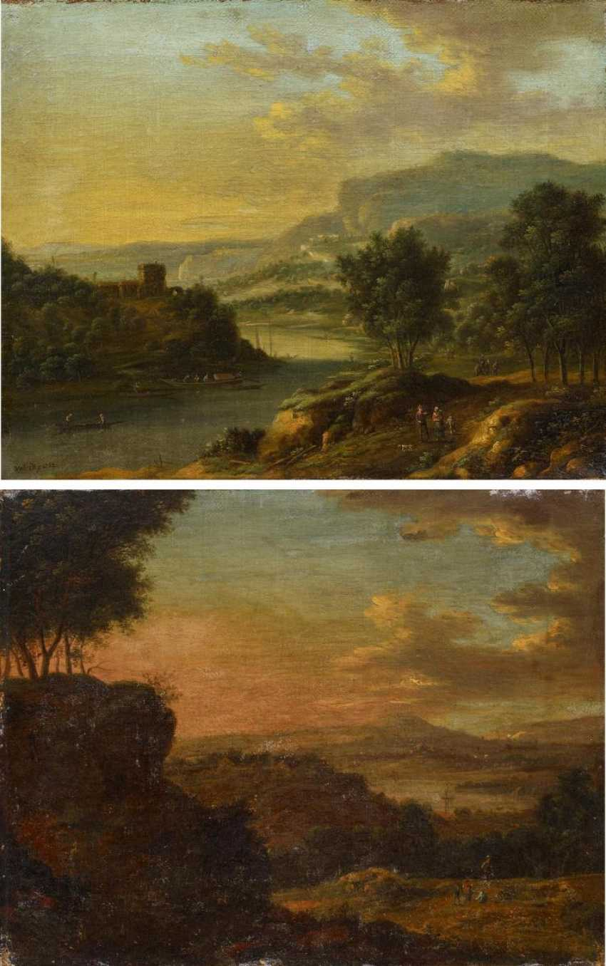 Two paintings: Mountainous river landscape with people. And sunrise in landscape - photo 2