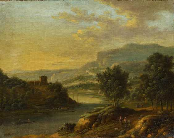 Two paintings: Mountainous river landscape with people. And sunrise in landscape - photo 3