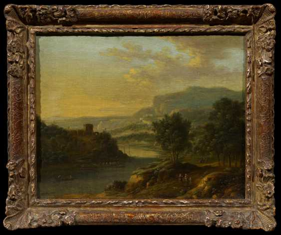 Two paintings: Mountainous river landscape with people. And sunrise in landscape - photo 4