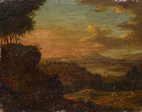 Two paintings: Mountainous river landscape with people. And sunrise in landscape - photo 6