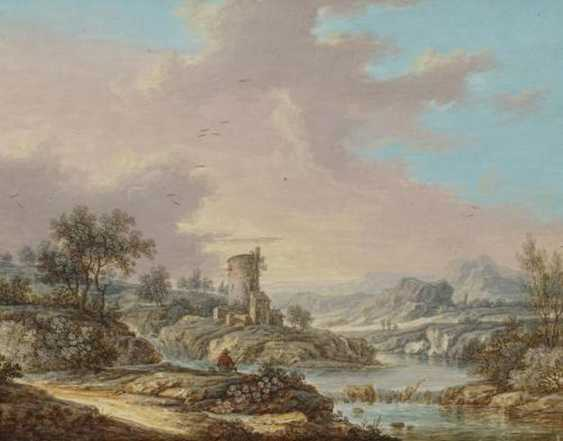 Two paintings: river landscape with anglers in a mill. As well as Wide river landscape with houses and hikers to a Ford - photo 1