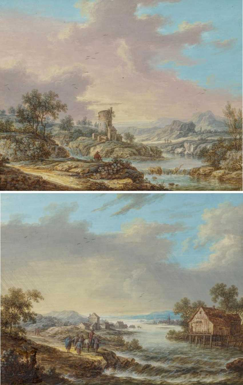 Two paintings: river landscape with anglers in a mill. As well as Wide river landscape with houses and hikers to a Ford - photo 2