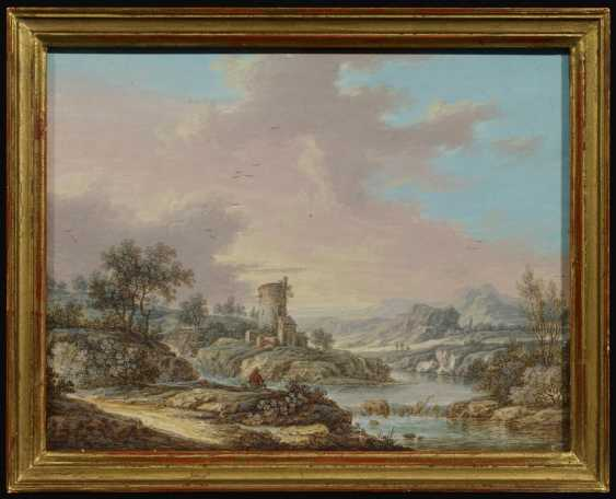 Two paintings: river landscape with anglers in a mill. As well as Wide river landscape with houses and hikers to a Ford - photo 4