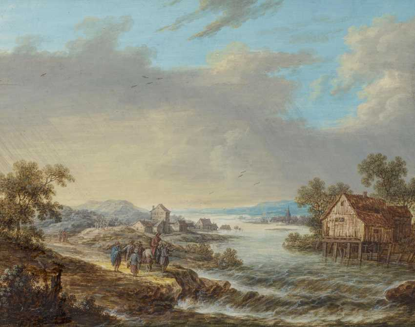 Two paintings: river landscape with anglers in a mill. As well as Wide river landscape with houses and hikers to a Ford - photo 6