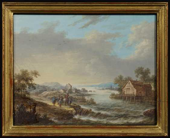 Two paintings: river landscape with anglers in a mill. As well as Wide river landscape with houses and hikers to a Ford - photo 7
