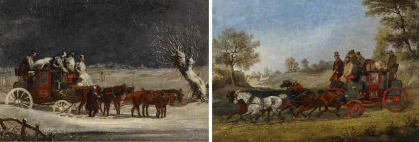 Two paintings: stagecoach in the summer. As well as stagecoach in Winter - photo 7