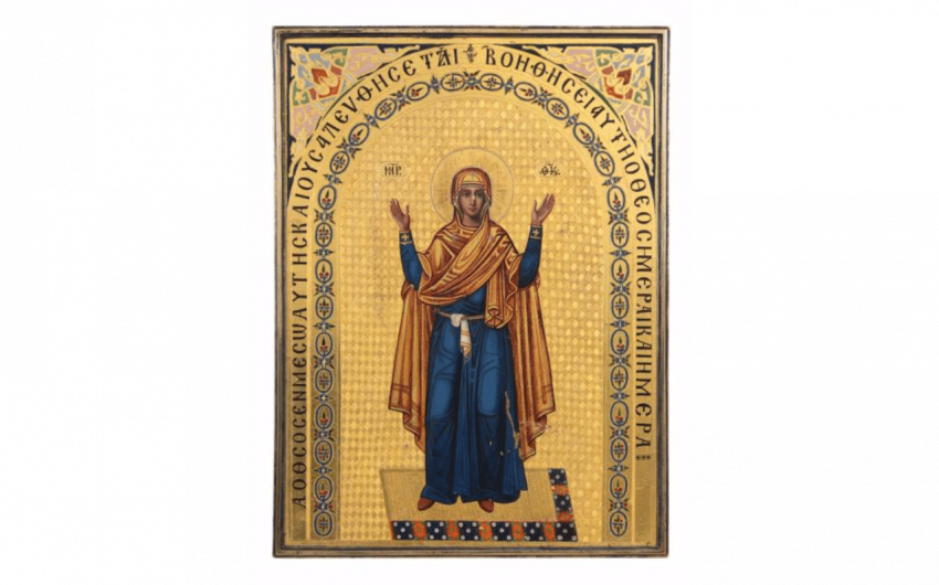 Beautiful icon of the Virgin orans (pray-er....