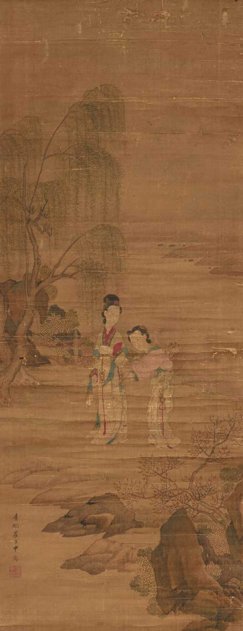 Cui Zizhong (1574 - 1644). Elegant lady in the company during a walk in the spring - photo 1