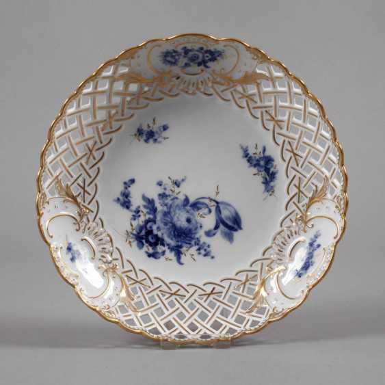 "Meissen braided edge bowl ""blue flower with gold grasses"" - photo 1"