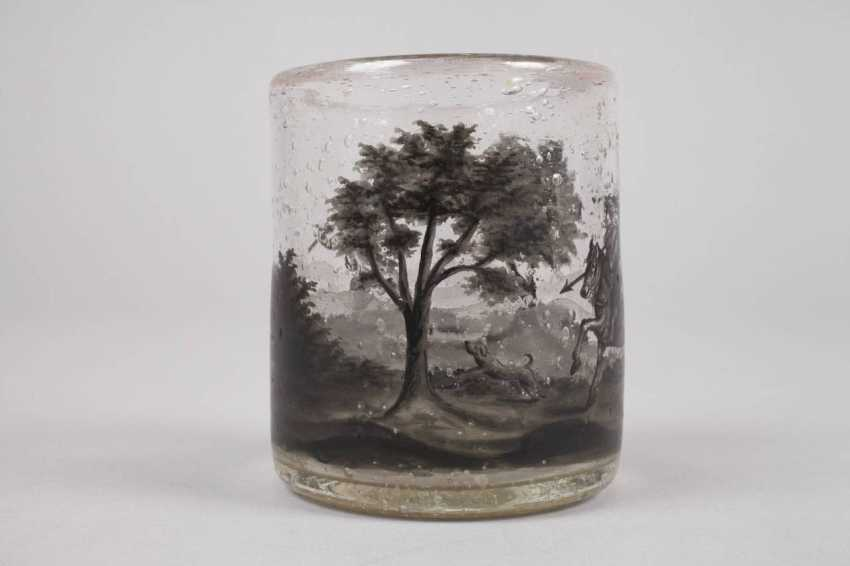 Wine glass with black painting - photo 3