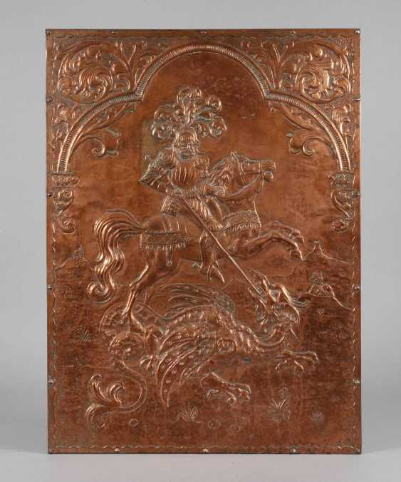 Large Copper Relief Of Saint George - photo 1