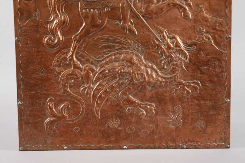 Large Copper Relief Of Saint George - photo 3