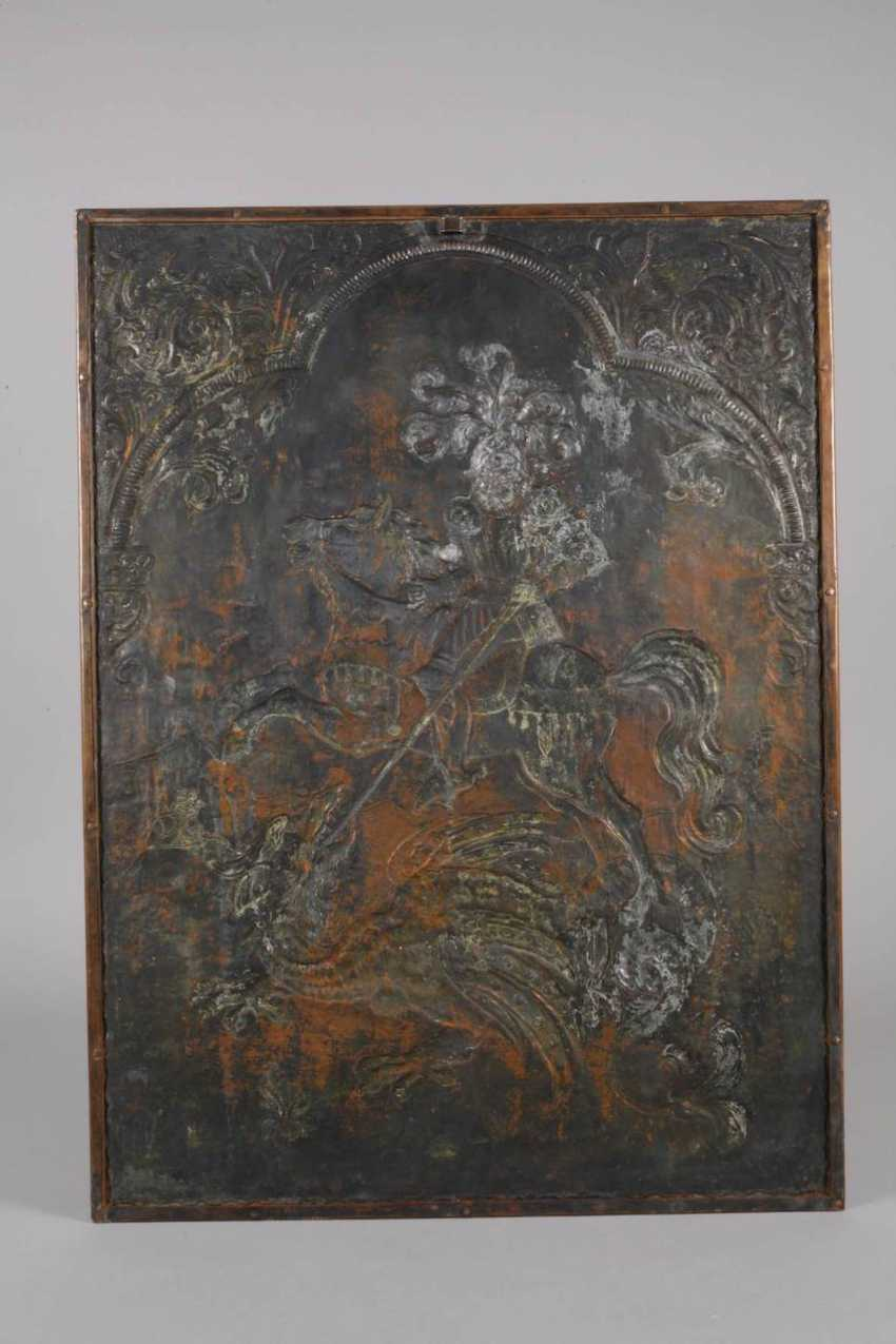 Large Copper Relief Of Saint George - photo 4