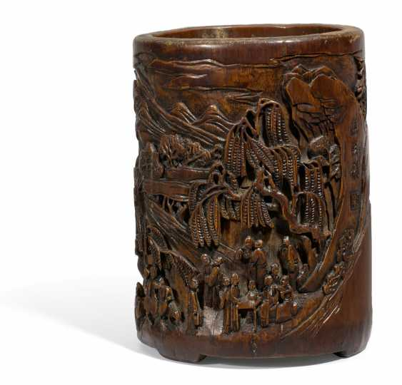 Important brush Cup (bitong) with mountain landscape - photo 1