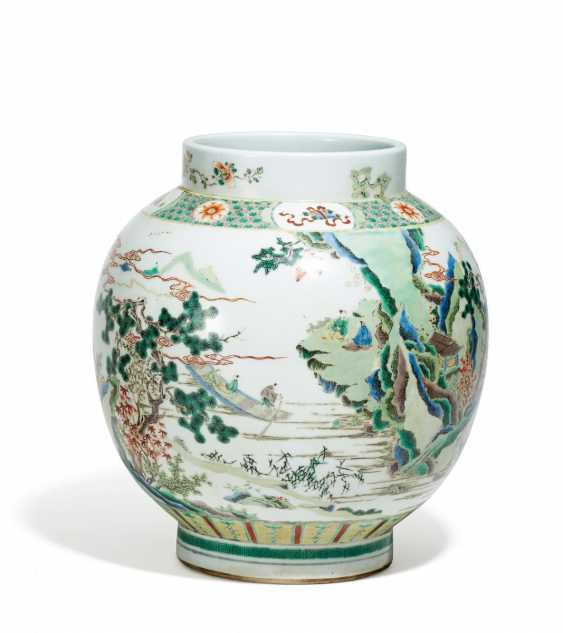 Bulbous Vase with scholars and cranes in mountain landscape - photo 1