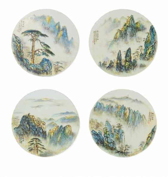 Four round plates with landscapes of the Huangshan mountains - photo 1