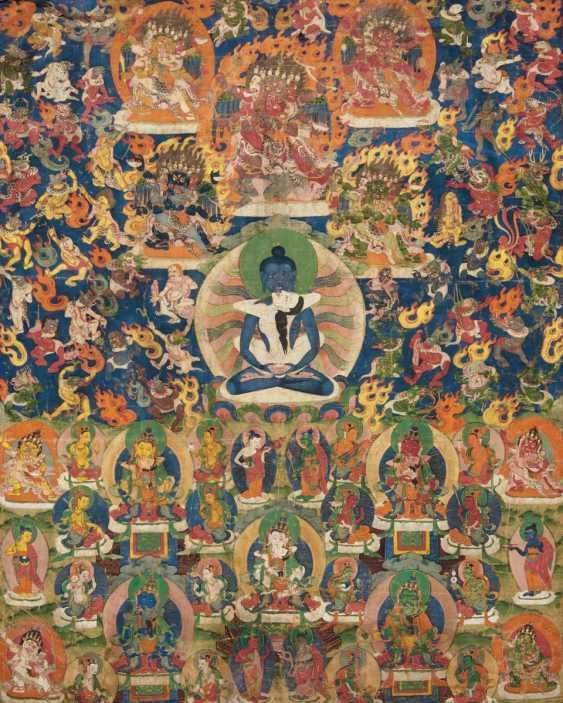 Thangka of Samanthabadra with the peaceful and wrathful deities of the Bardo - photo 1