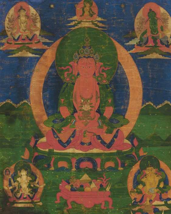 Thangka of Amitayus and offerings - photo 1