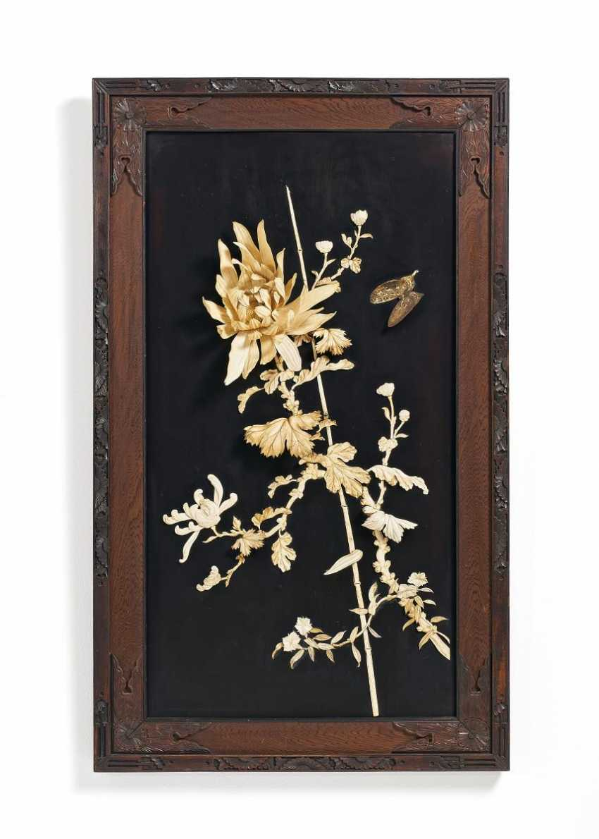 Two Panels with flowers and birds - photo 2