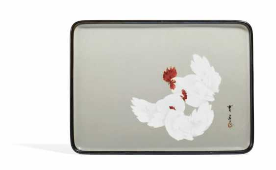 Rectangular plate with a rooster and two hens - photo 1