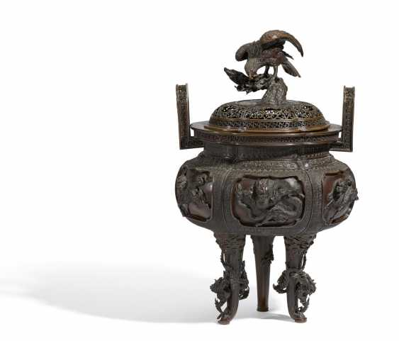 Important incense burner with dragon and hôô-birds - photo 1