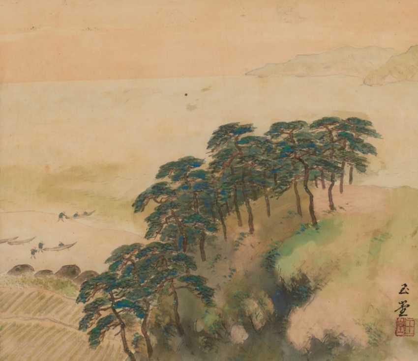 Kawai, Gyokudô (1873 - 1957). Coast with boats (Isobune) - photo 1