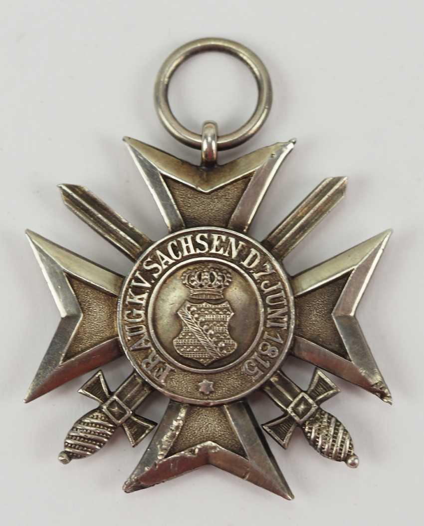 Saxony Civil Merit Order, 2. Model (1911-1918), cross of merit with swords. Silver, polished edges. - photo 1
