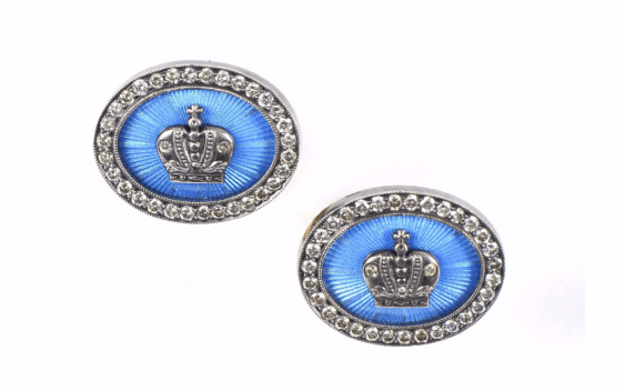 Pair of cufflinks, of oval form... - photo 1