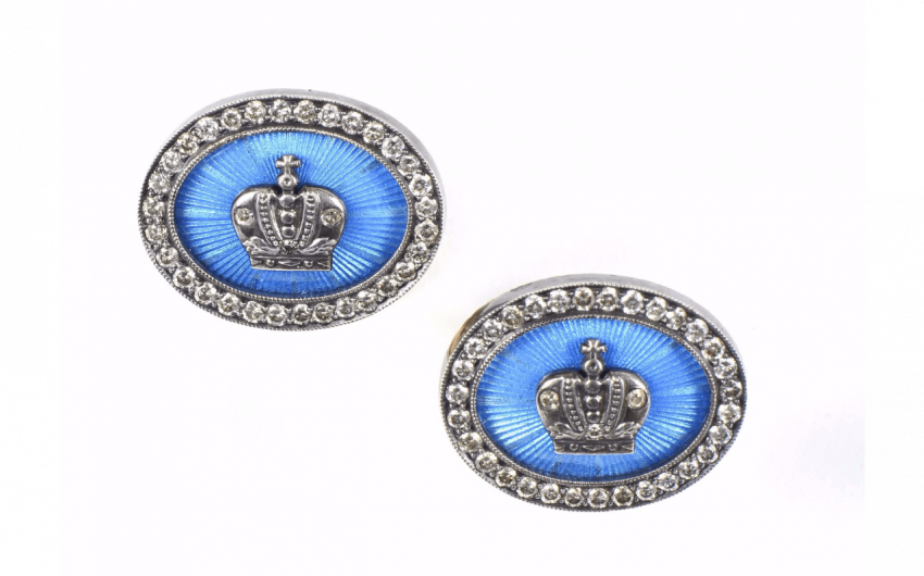 Pair of cufflinks, of oval form...