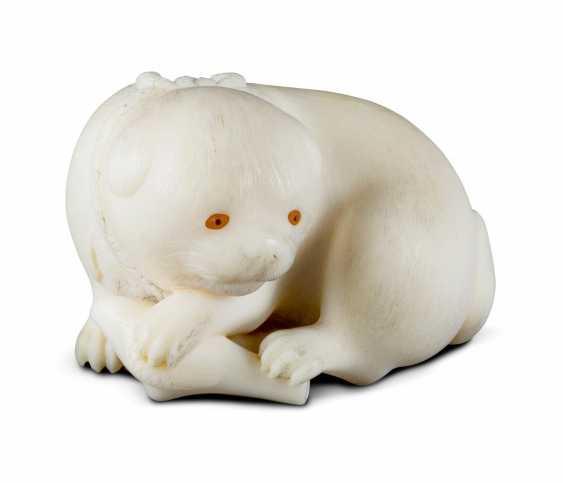 Netsuke: puppy with collar - photo 1