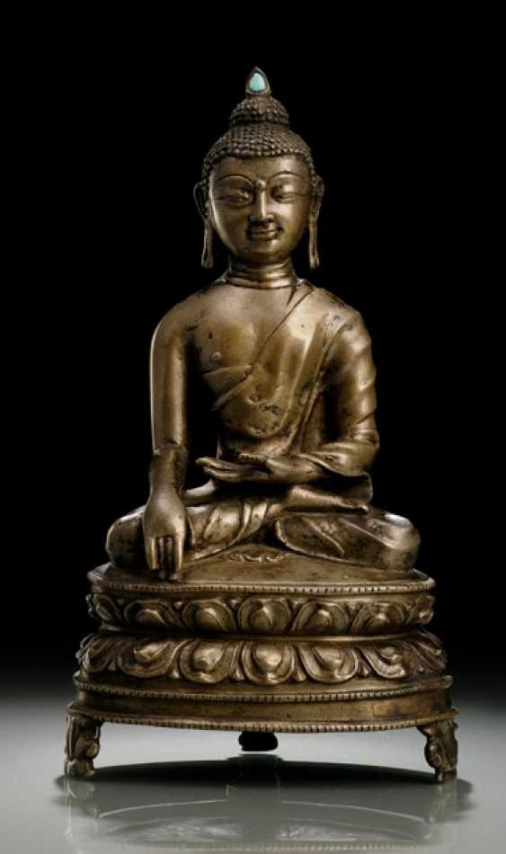 BRONZE OF BUDDHA SHAKYAMUNI ON A LOTUS - photo 1