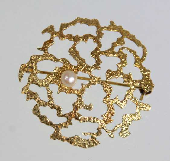Brooch with Akoya pearl yellow gold 585 - photo 1