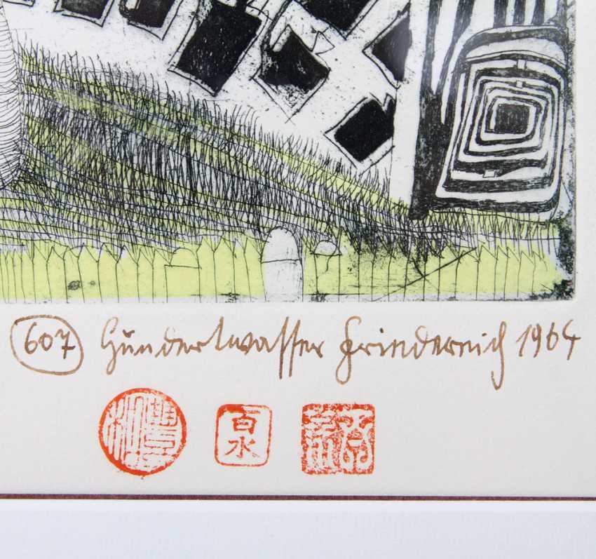 """HUNDERTWASSER, FRIEDENSREICH (1928-2000): """"Girl is found in the Grass"""", 1964, - photo 3"""