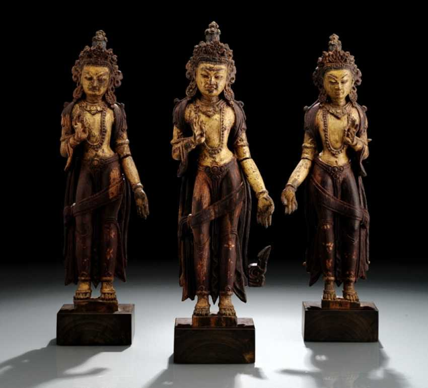 THREE RARE SCULPTURES MADE FROM ZITAN WOOD WITH REPRESENTATIONS OF MAHABODHISATTVAS