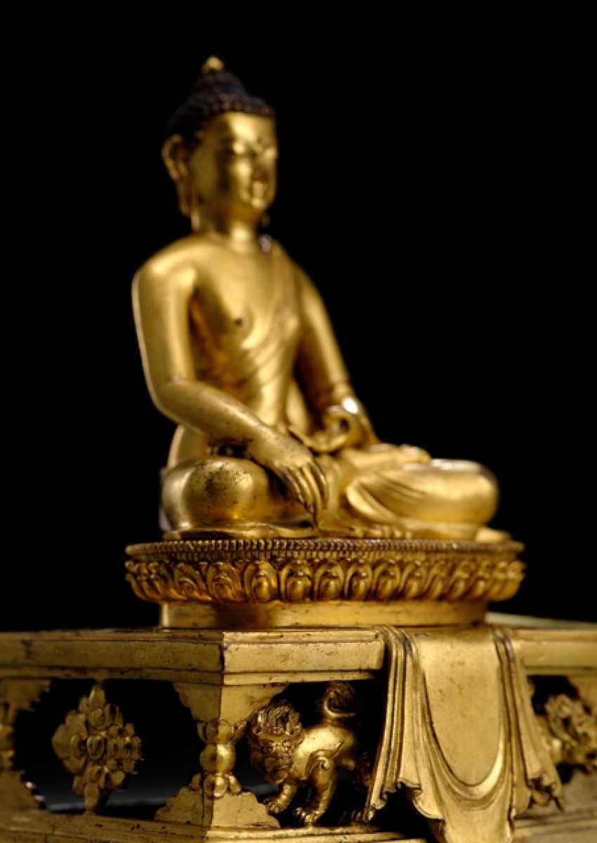 FEUERVERGOLDETE BRONZE DES BUDDHA SHAKYAMUNI