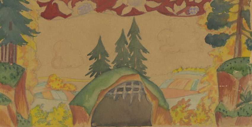 """KUSTODIEV, BORIS (1878–1927). Stage Design for the Marionette Theatre Performance """"The Cockerel with Golden Crest"""" - photo 1"""