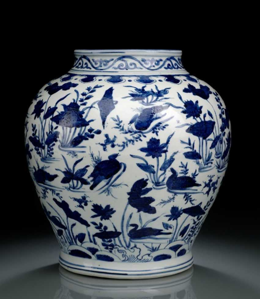 UNDER GLAZE BLUE DECORATED SHOULDER OF THE POT WITH 'LOTUS AND DUCK'DECOR - photo 1