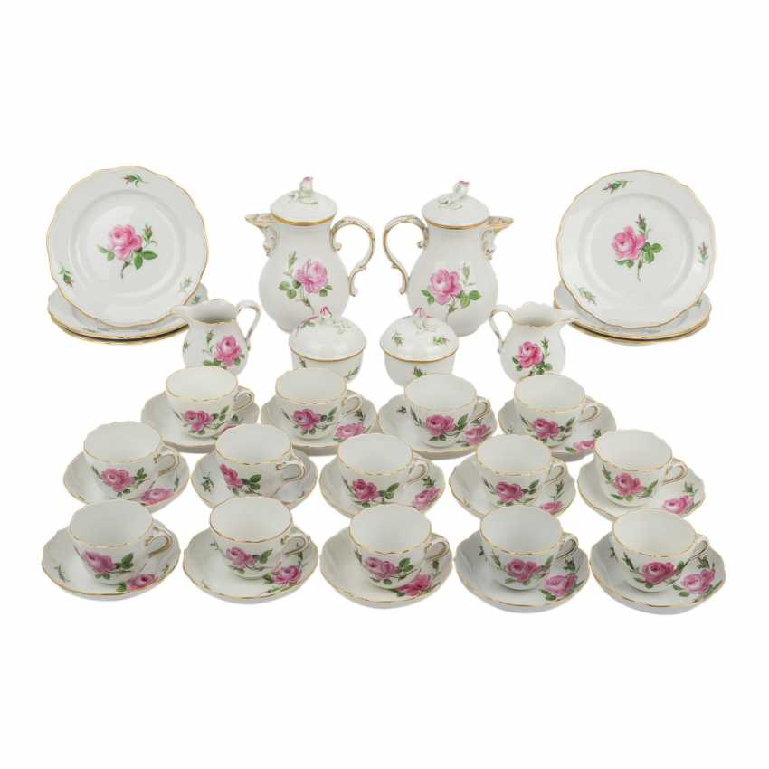 MEISSEN, mocha service for 6 to 14 persons in 'Red Rose', 20. Century. - photo 1
