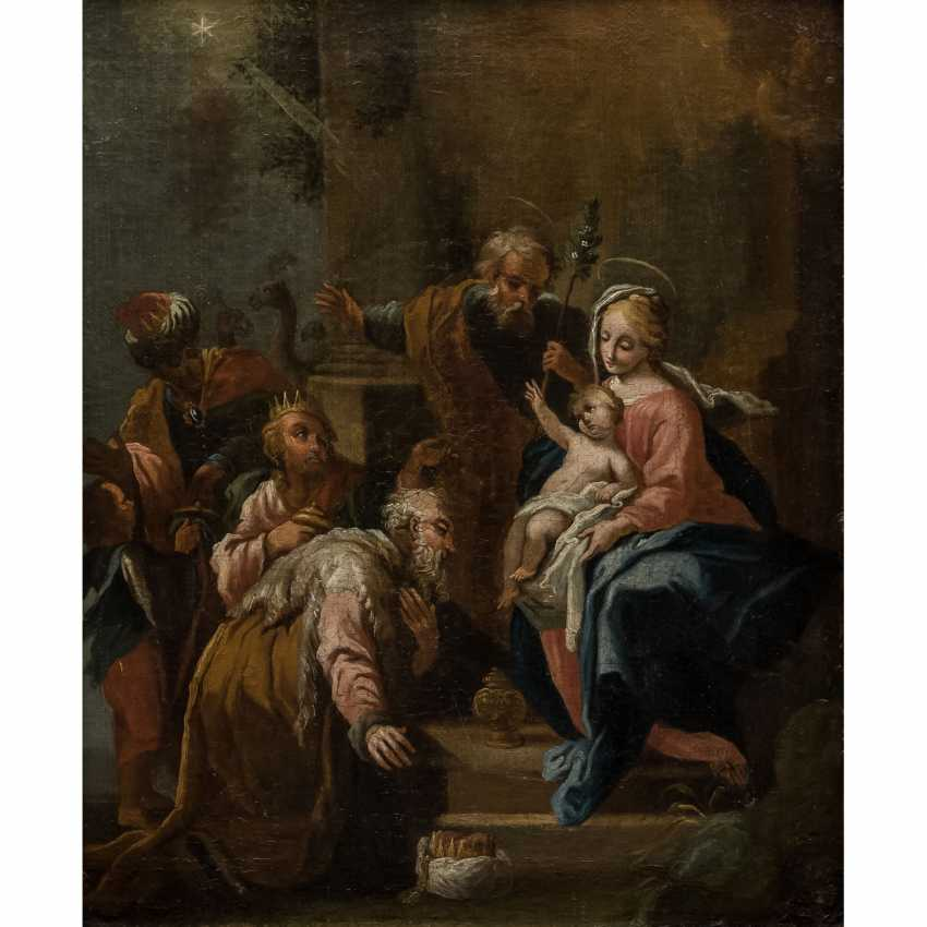 """OF SOUTH GERMAN PAINTERS 17./18. Century, """"adoration of Christ by the Holy three kings"""", - photo 1"""