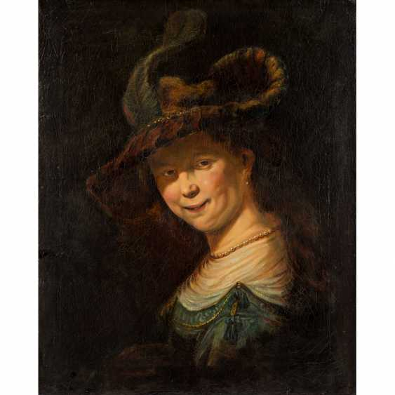 "A painter and copyist 19. Century, AFTER REMBRANDT, ""Portrait of the young Saskia"", - photo 1"