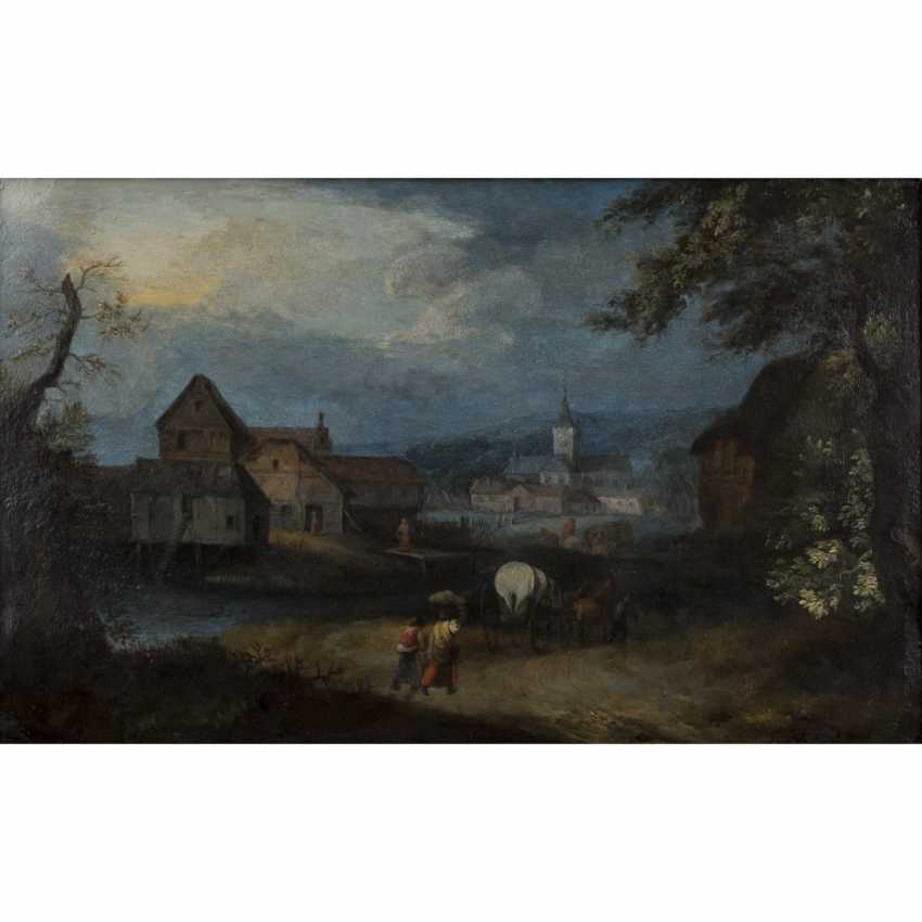 "BRUEGHEL, Jan I, ATTRIBUTED to/CIRCLE (J. B.: Brussels 1568-1625 Antwerp), ""landscape with people in front of a monastery complex"" - photo 1"