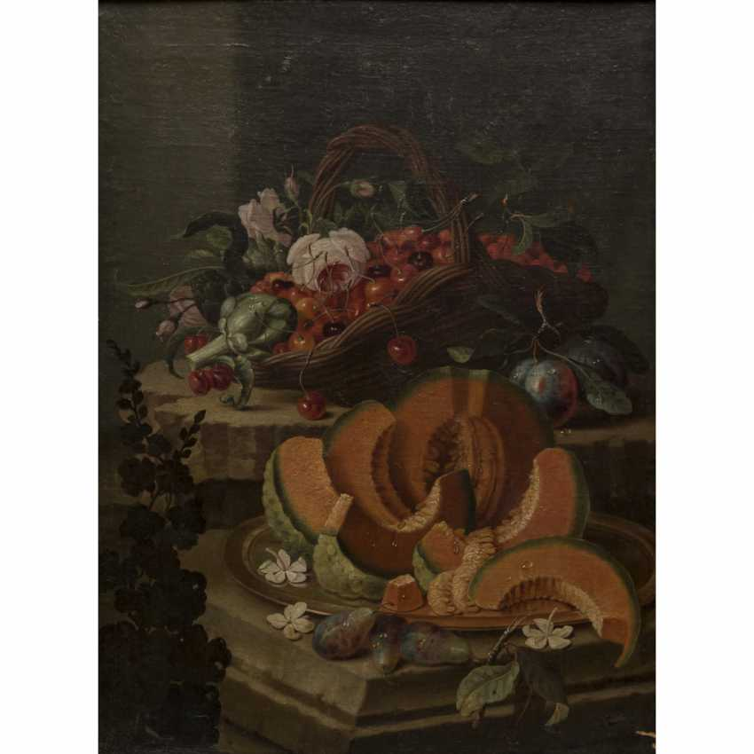 """PAINTER/IN 18./19. Century, """"still life with cherries in a basket and melon on a shell"""", - photo 1"""