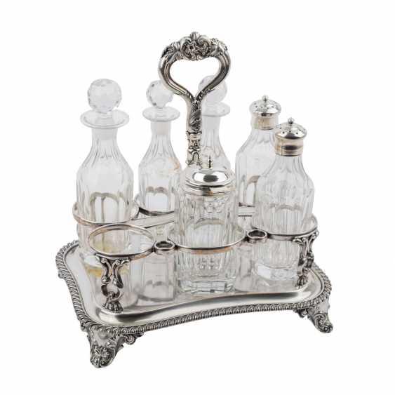 Cruet set with 6 glass vials, silver-plated, 20. Century - photo 1