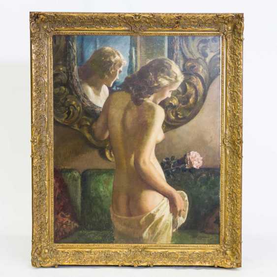 "LIEBERMANN, ERNST (Langemüß in Meiningen 1869-1960 Beuerberg, upper Bavaria), ""Female Nude in front of a mirror standing"" - photo 2"
