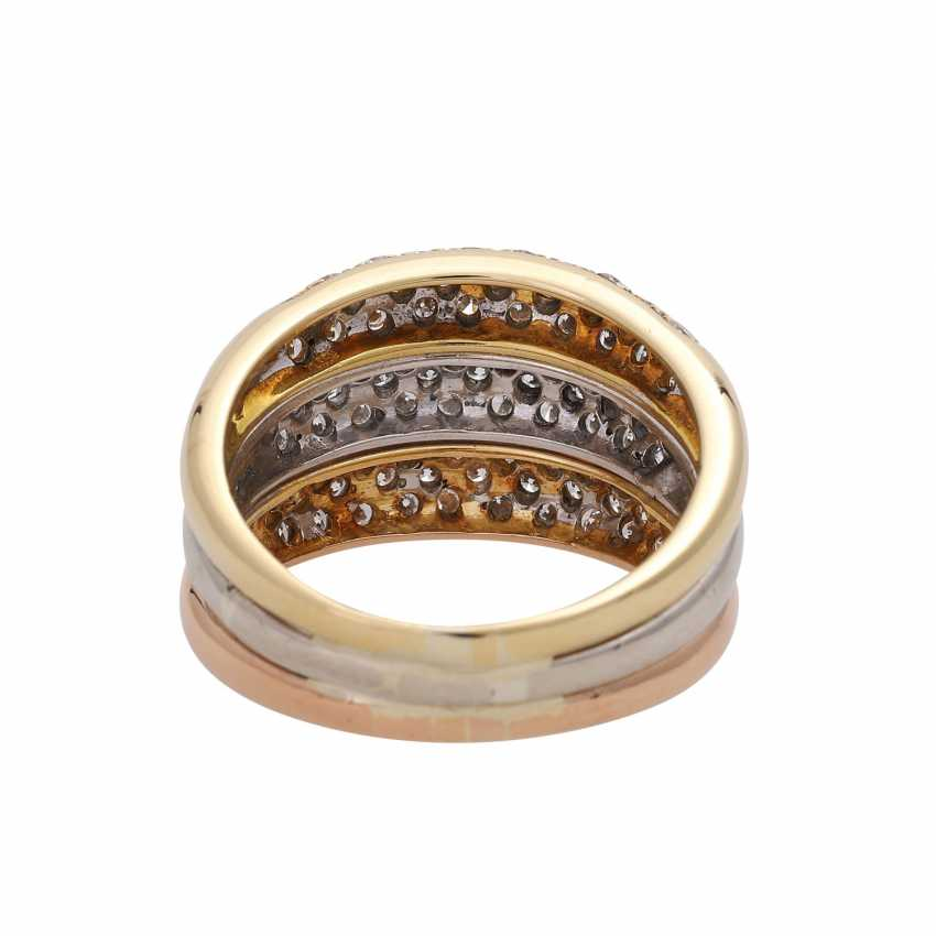 Ring, tricolor, bes.with 93 diamonds, together approx. of 1.4 ct, - photo 4
