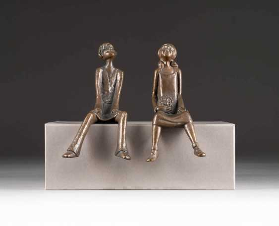 MODERN image sculptor Active in the 2. Half of the 20th century. Century. THE RENDEZVOUS (SEAT END PAIR) - photo 1