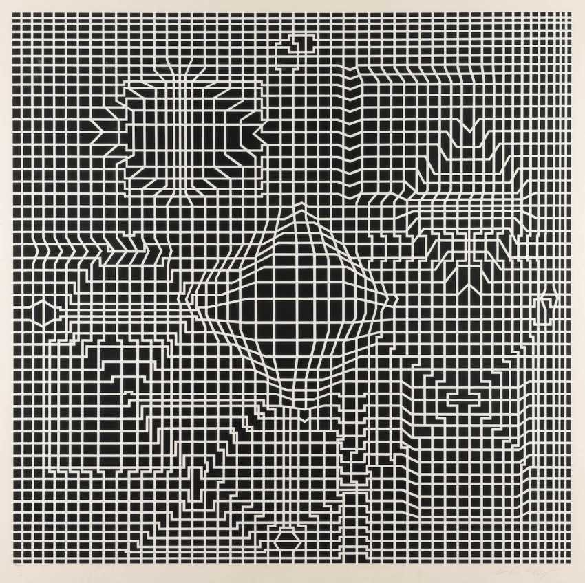 VICTOR VASARELY 1906 Pécs, Hungary - 1997, Paris. UNTITLED (COMPOSITION IN BLACK AND WHITE) - photo 1