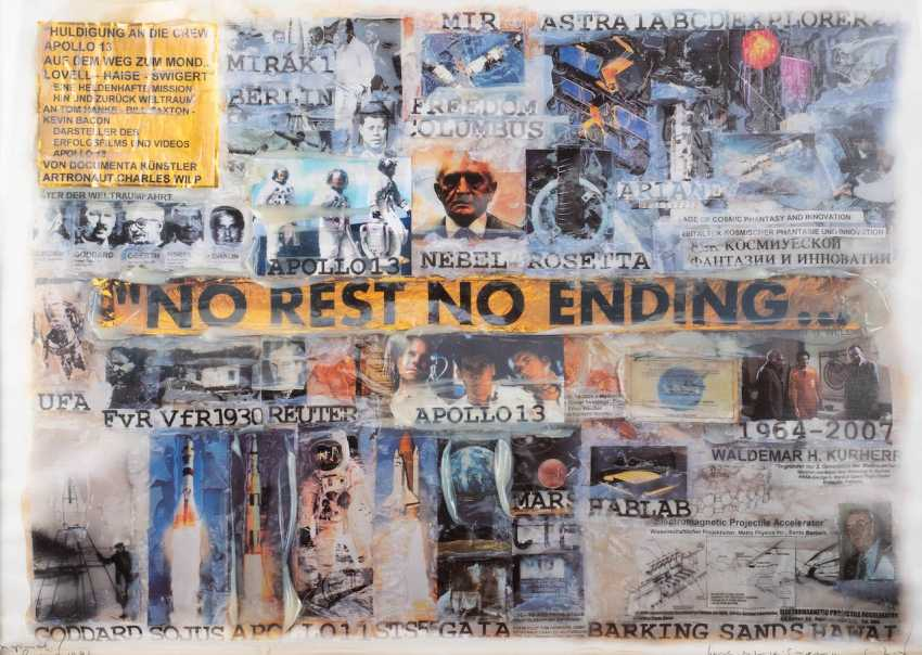 CHARLES WILP in 1932, Witten - 2005 Düsseldorf. 'NO REST NO ENDING' (COLLAGE ON THE THEME OF APOLLO 13) - photo 1