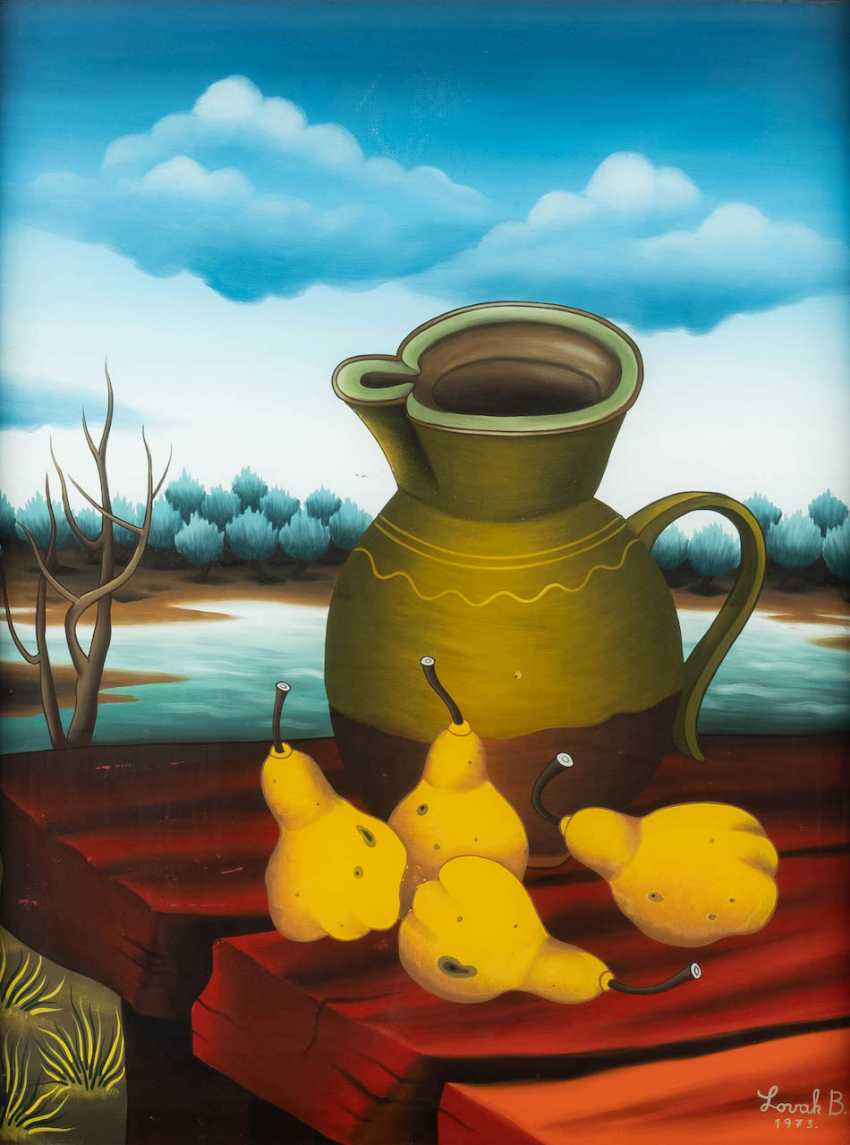 BRANKO LOVAK 1944 - 1983. STILL LIFE WITH PEARS AND A PITCHER OF - photo 1